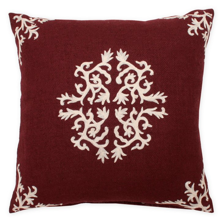 Antonia 18x18 Embroidered Pillow, Red