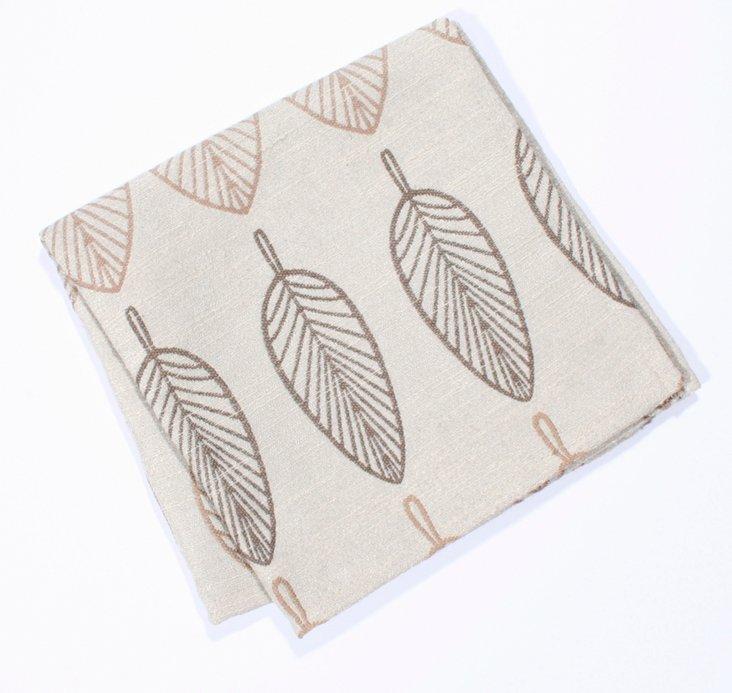 S/4 Embroidered Leaf Napkins, Neutral