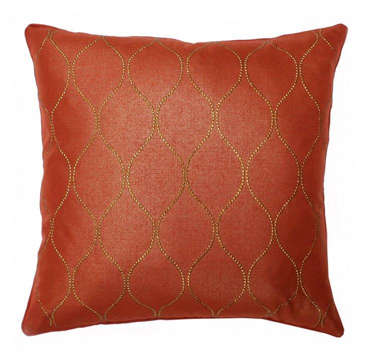 Trellis Studded 20x20 Pillow, Orange