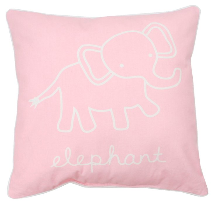 Elephant 18x18 Pillow, Pink