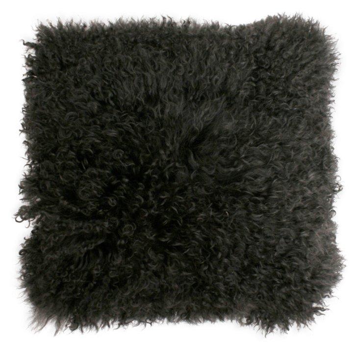 Mongolian 16x16 Lamb Pillow, Charcoal