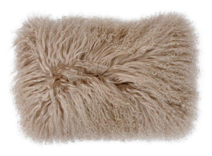Mongolian 12x20 Lamb Pillow, Oatmeal