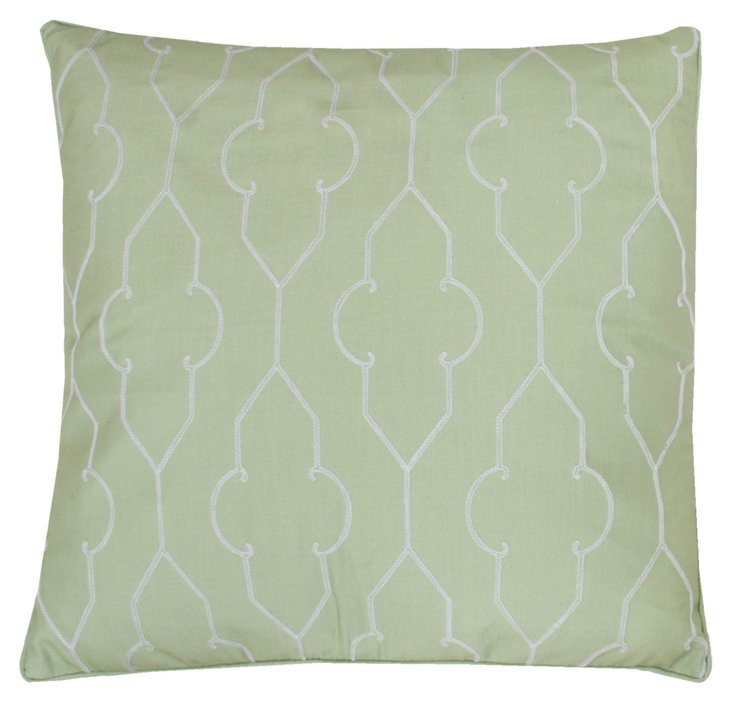 Tracy 20x20 Embroidered Pillow, Green