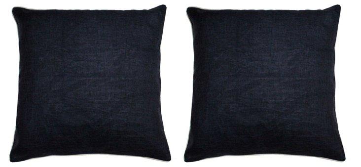 S/2 Nerios 20x20 Cotton Pillows, Black