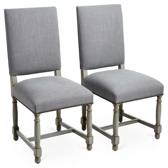 Slate Gray Pacifica Side Chairs, Pair