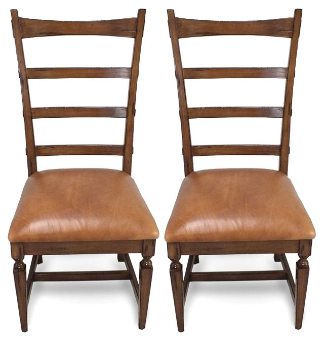 Camel Sarah Leather Side Chairs, Pair