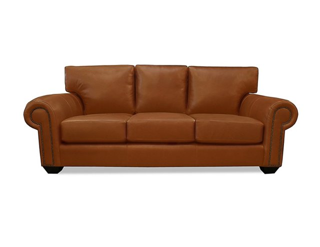 "Connor 90"" Leather Sofa, Caramel"