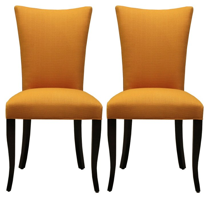 Yellow Lorraine Dining Chairs, Pair