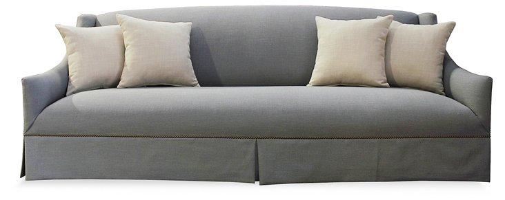 """Alana 95"""" Linen Sofa, Zinc"""