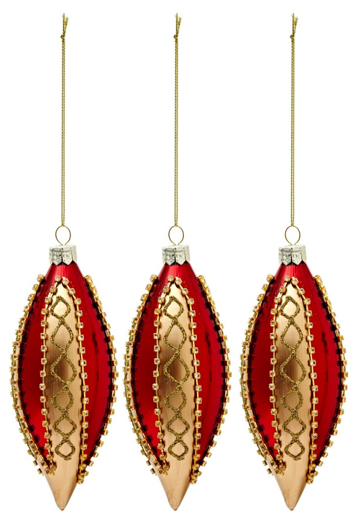 S/3 Holiday Ornaments, Red & Gold