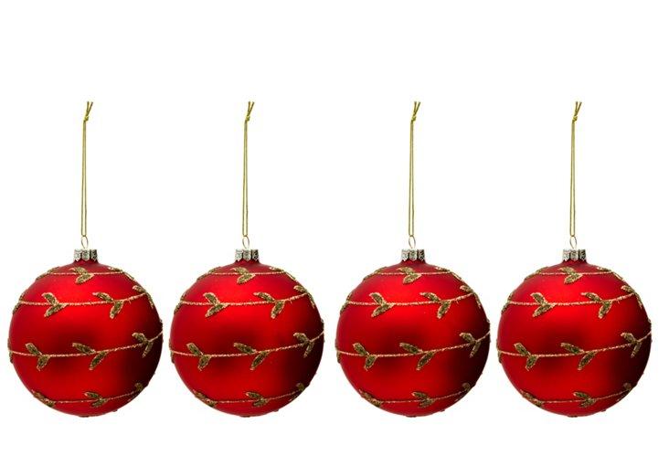 S/4 Glitter Vine Ornaments, Red & Gold