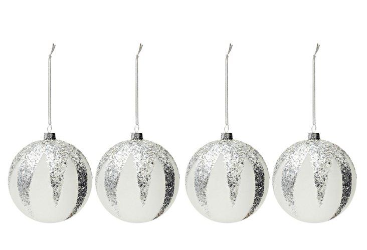 S/4 Glitter Ornaments, Silver