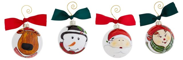Faces of Christmas Ornaments, Asst. of 4