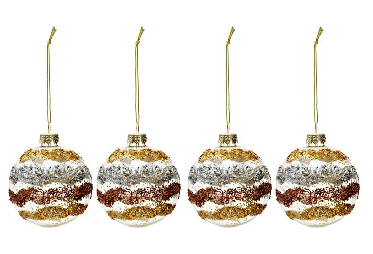 S/4 Glitter Wrapped Ornaments, Gold
