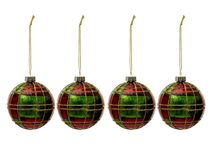 S/4 Glitter Traditional Plaid Ornaments