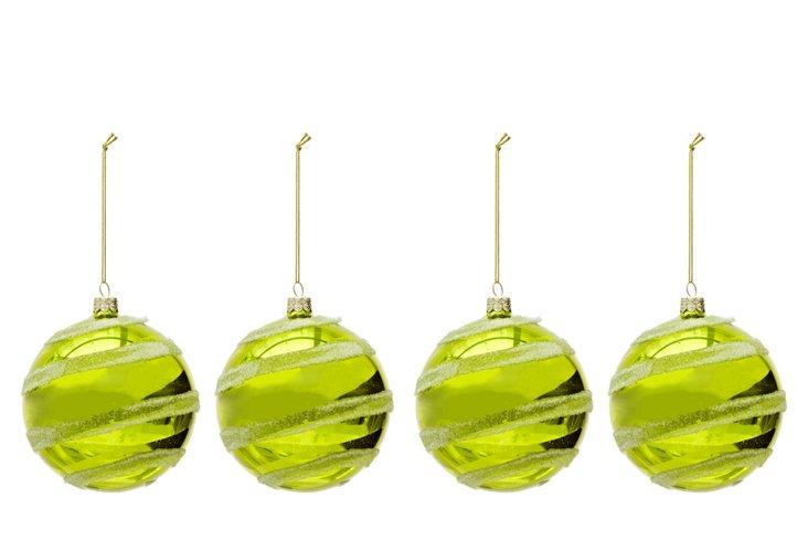 S/4 Glitter Twist Ornaments, Lime