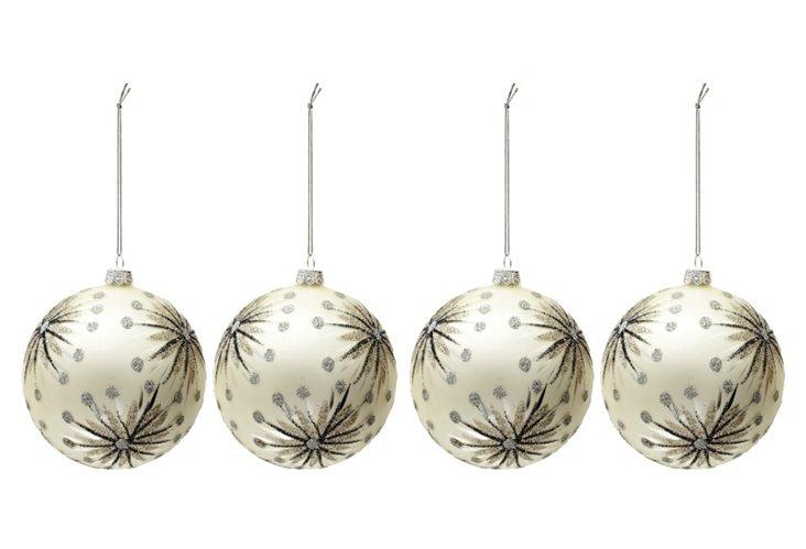 S/4 Glitter Starburst Ornaments