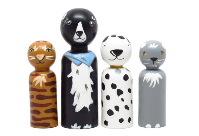 Cats and Dogs, 4-Doll Set