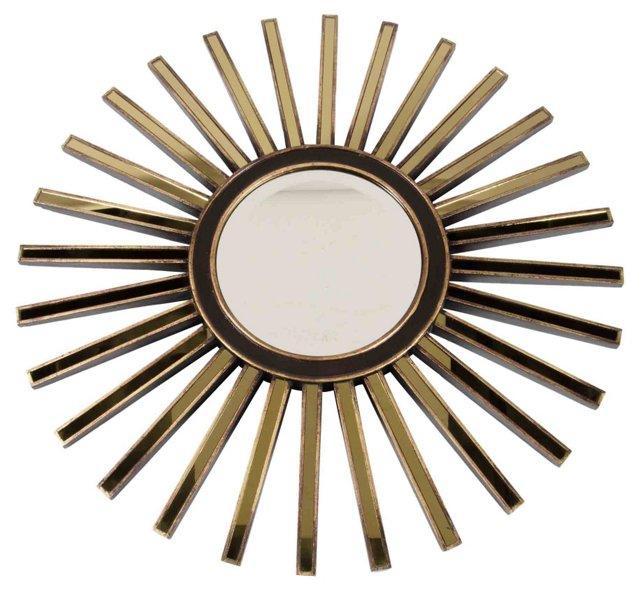 Starburst Wood Mirror w/ Gold Detail
