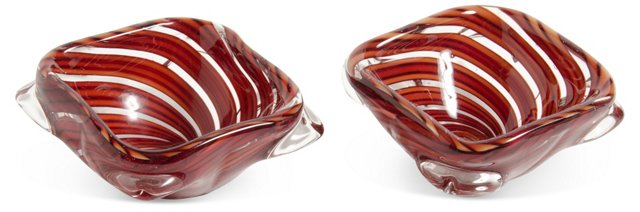 Orange & Red Murano Glass Bowls, Pair