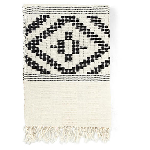 Abren Cotton-Blend Throw, Onyx/Cream