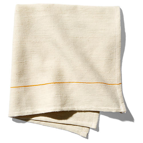 S/4 Sunflower Dinner Napkins, Ecru