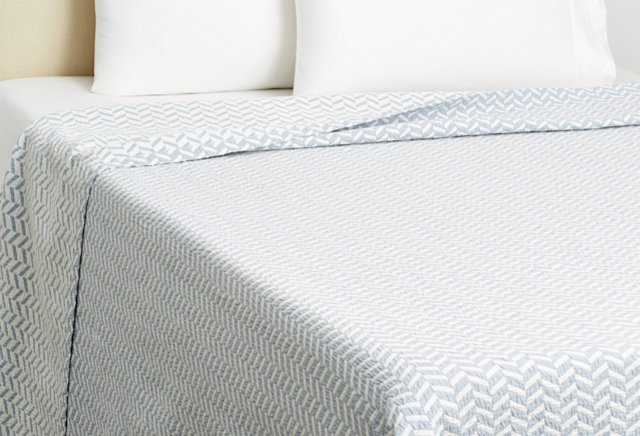 King Herringbone Coverlet, Chambray