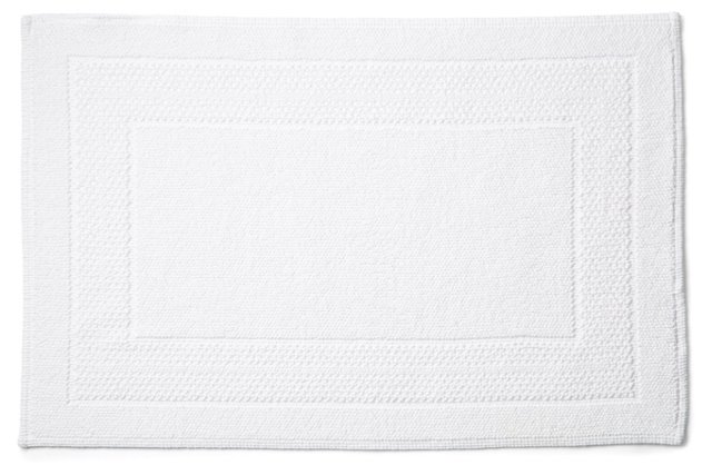 Border Stripe Bath Rug, White