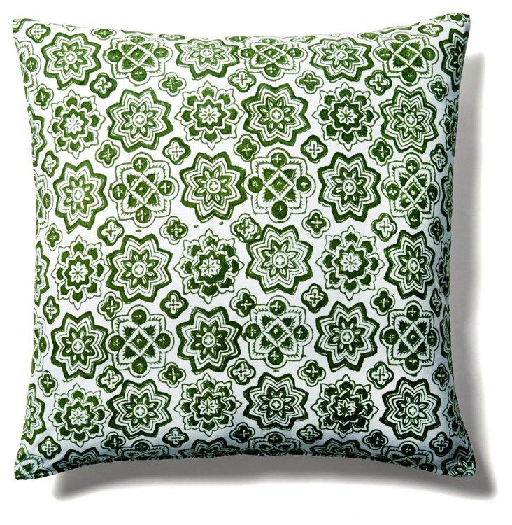 Callie 20x20 Cotton Pillow, Green