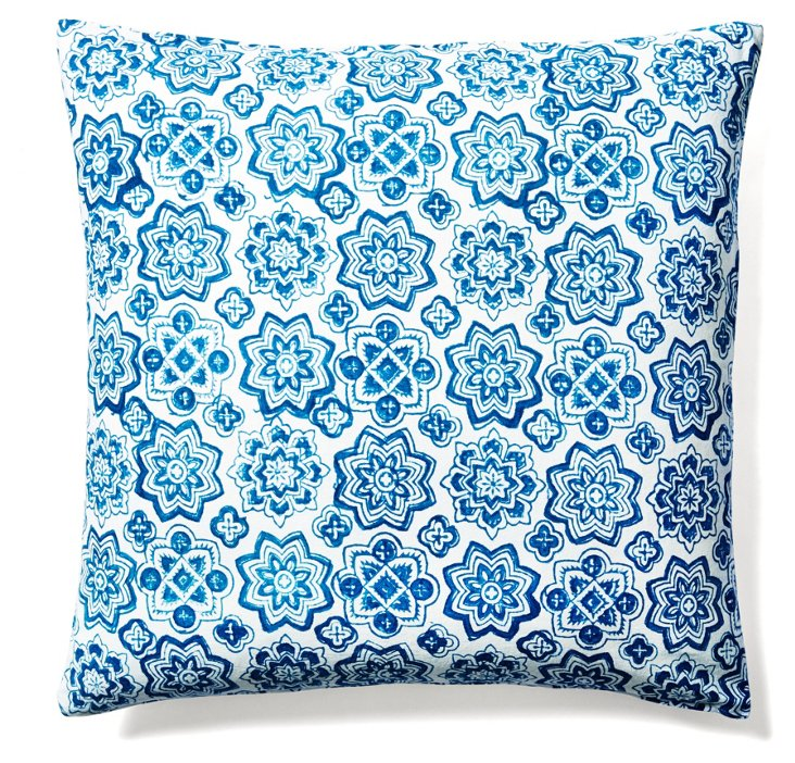 Callie 20x20 Cotton Pillow, Indigo