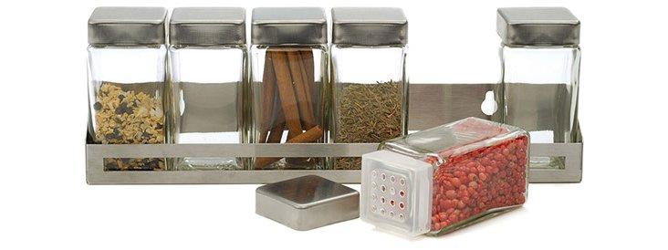 Rectangle Spice Set w/ 6 Jars