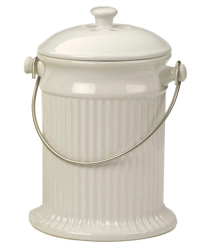 Stoneware Compost Pail, White
