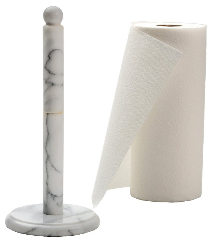 Marble Paper Towel Holder, White