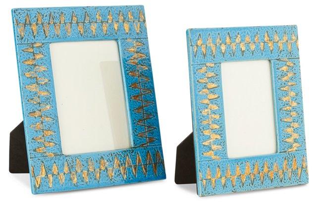Asst. of 2 Ceramic Frames, Turquoise
