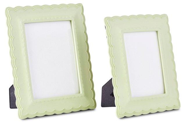 Asst. of 2 Scalloped-Edge Frames, Green