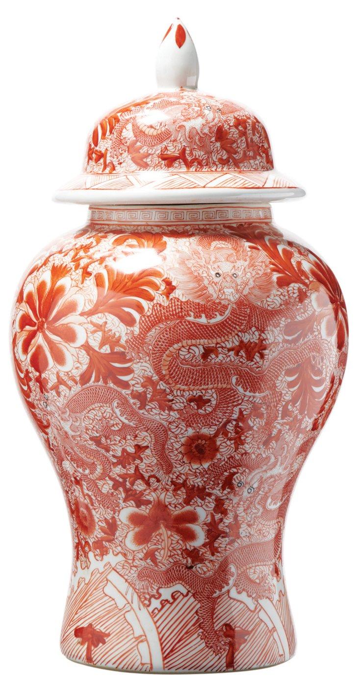 """23"""" Porcelain Dragon Temple Jar, Coral"""