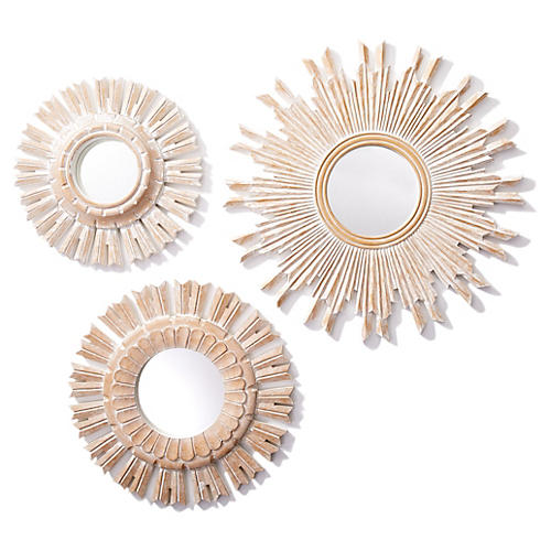 Asst. of 3 Dahlia Accent Mirrors, Brown
