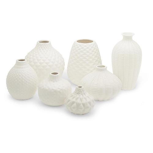 Asst. of 7 Allisson Bud Vases, White