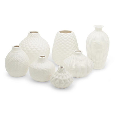 Asst. of 7 Allisson Decorative Bud Vases, White