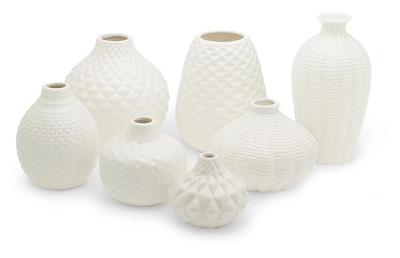 Asst. of 7 Allisson Decorative Bud Vases, White