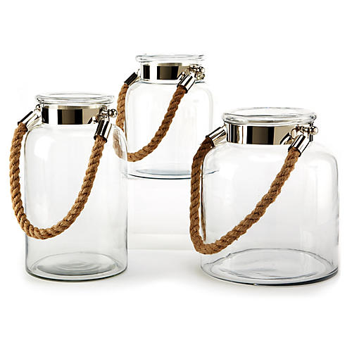 Asst. of 3 Natalia Rope Lanterns, Clear/Nickel