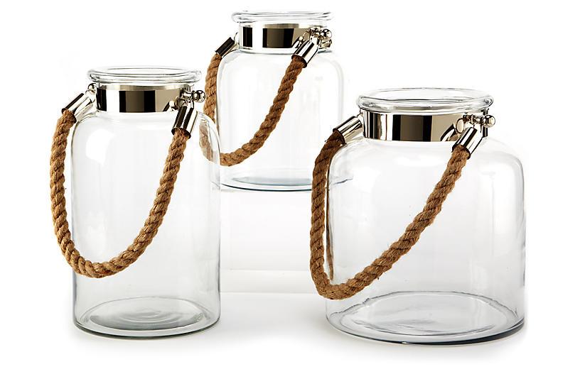 Asst. of 3 Natalia Rope Lanterns, Clear/Nickel
