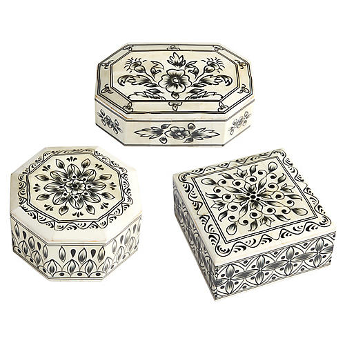 Asst. of 3 Vilas Bone Boxes, Black/Ivory