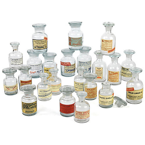 Asst. of 24 Balfour Apothecary Jars, Clear/Multi
