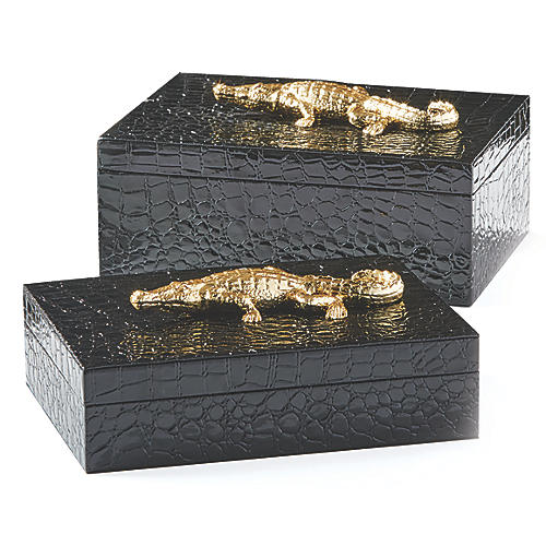 Asst. of 2 Sawyer Faux-Alligator Boxes, Black/Gold