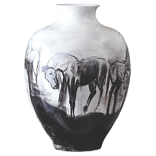 "14"" Murray Hand-Painted Jar, Black/White"
