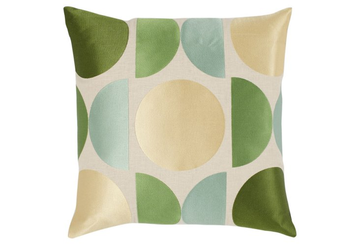 Mod Embroidered 20x20 Pillow, Green