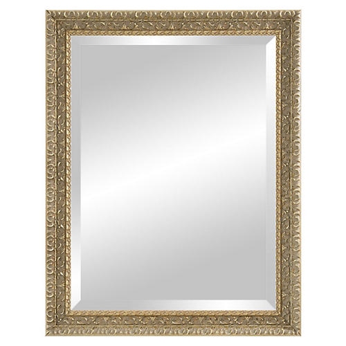 Carved Wooden Mirror, Pewter