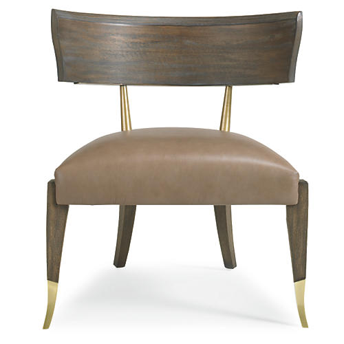 Greek Accent Chair, Chocolate Leather