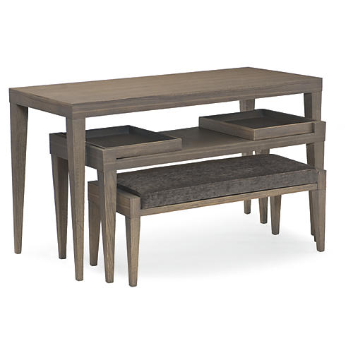 3-In-1 Nesting Tables, Metro Brown